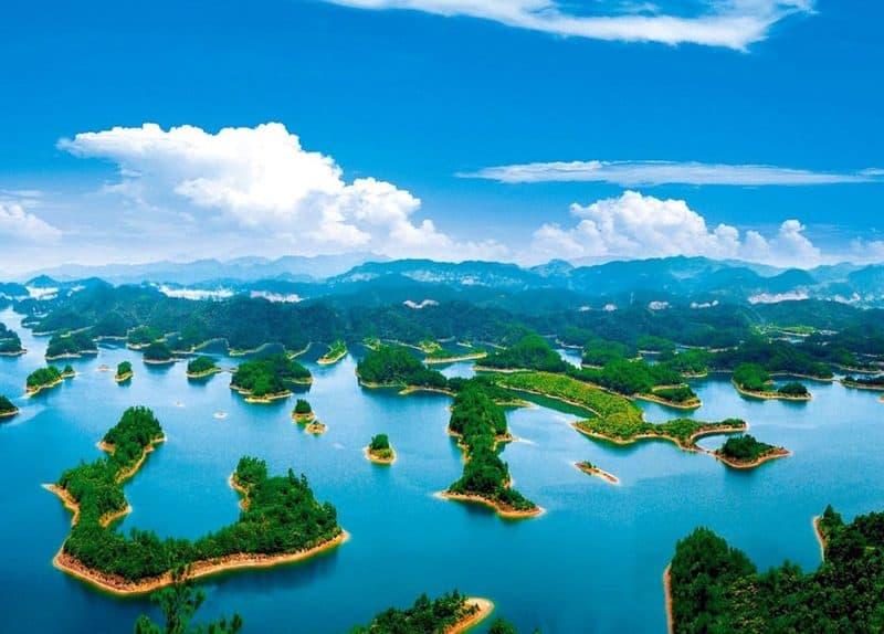 buceo en el lago de las mil islas china